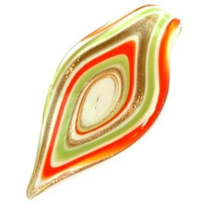 zawieszki koraliki lampwork listki landrynkowy sęk 40 x 76 mm