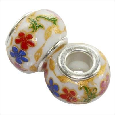 perles modulaires en céramique fleur multicolore 10 x 13 mm