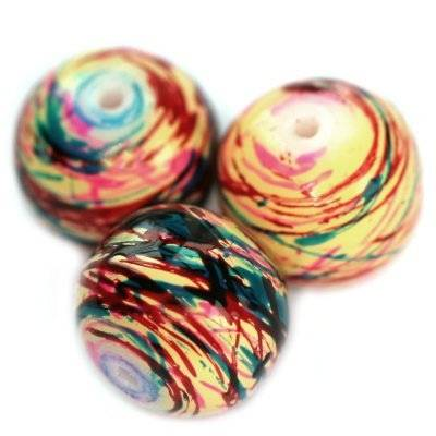 glass beads painted mix colors 12 mm