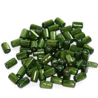Zylindrische Holzperlen dunkelgrün 8 x 4 mm