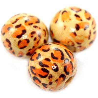 round wooden beads leopard 16 mm