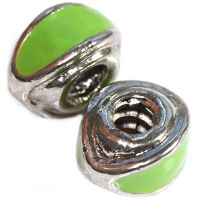 modular beads with green eyes 8 x 13 mm