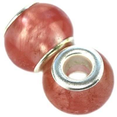 perles modulaires pierre quartz cerise 10 x 14 mm
