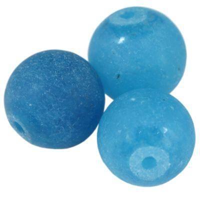 jadeit matowy błękitny 10 mm kamień naturalny barwiony