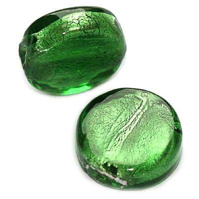 lampwork beads deep green 15 mm coin