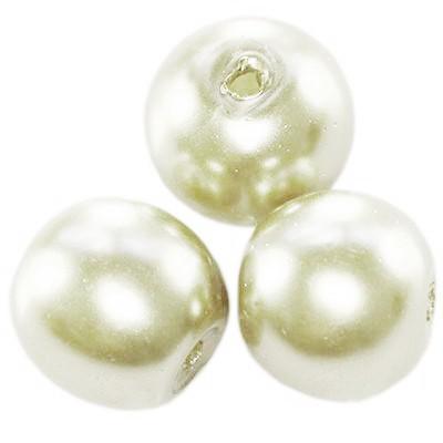 glass pearls ecru 10 mm