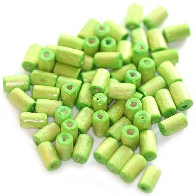 tubes wooden beads light green 8 x 4 mm
