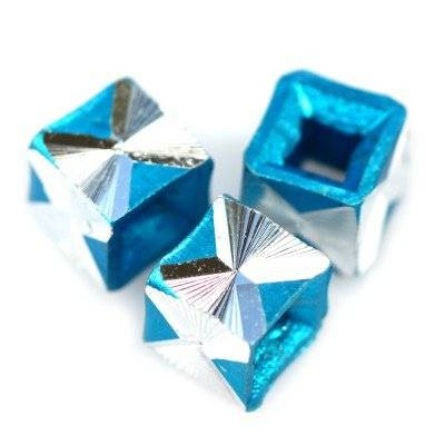 cubes aluminium beads azure 5.5 mm