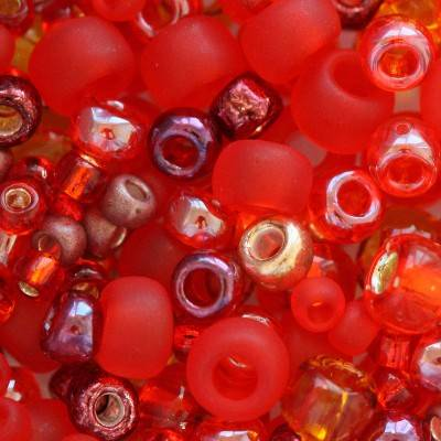 Toho beads multi-shape/color mix momiji- red mix 2 – 4 mm TX-01-3208