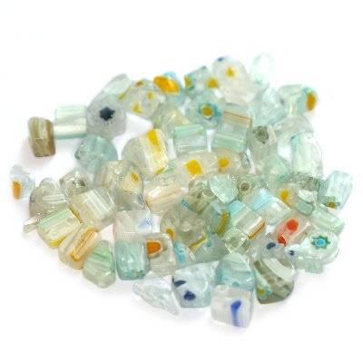 kamyczki białe millefiori kwiatki  / koraliki szklane