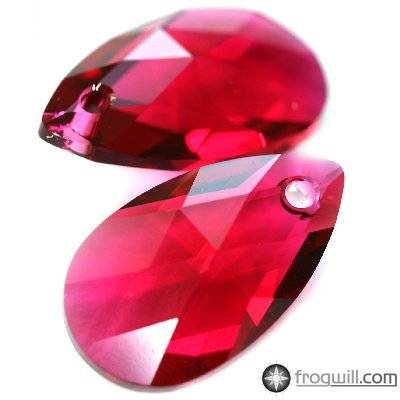 Swarovski pear-shaped pendants ruby 22 mm