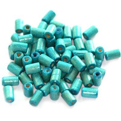 tubes wooden beads turquoise 8 x 4 mm