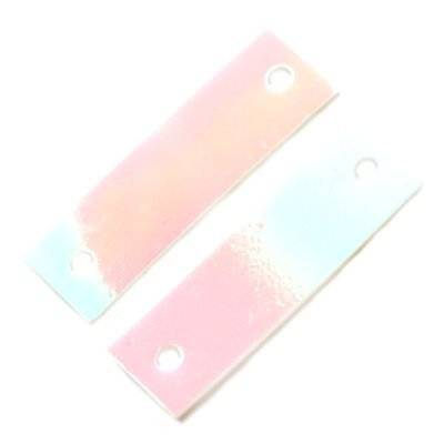 sequins cream - rainbow rectangles white 6 x 19 mm