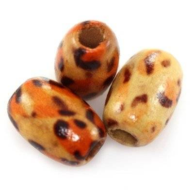 ovals wooden beads leopard 9 x 13 mm