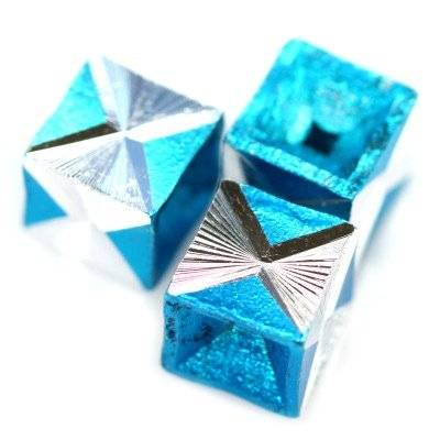 cubes aluminium beads azure 8 mm