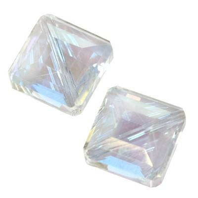 crystals flat faceted silver shade ab beads cube 16 mm