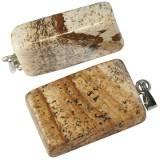 zawieszki prostokąty jaspis krajobrazowy 15 x 22 mm kamień naturalny