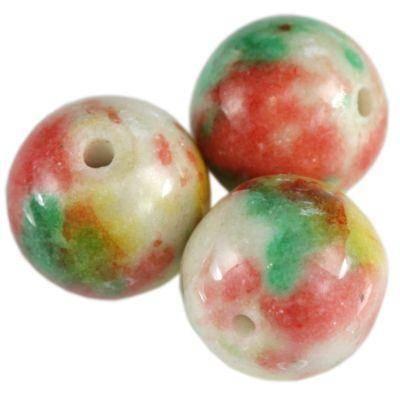 jadeit tęczowy kamień łaciaty 6 mm naturalny barwiony