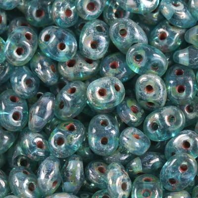 Koraliki SuperDuo aquamarine picasso 2,5 x 5 mm / koraliki dwudziurkowe
