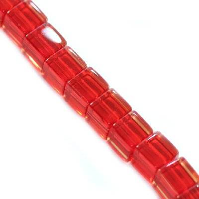 glass beads cube red 4 x 4 mm