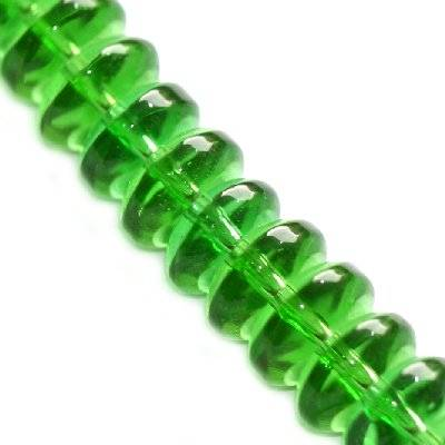 glass beads rondell green 8 mm