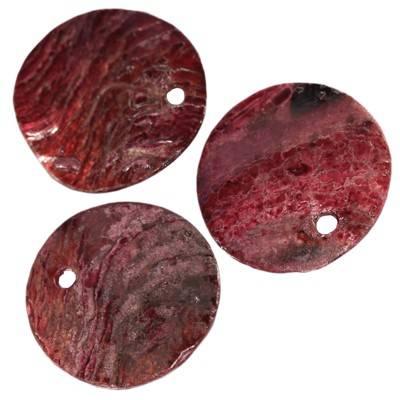 pärlemor platta runda plommonfärg 1 - 2 cm