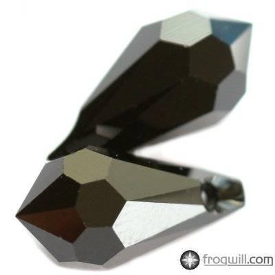 Swarovski drop pendants jet 15 x 7.5 mm