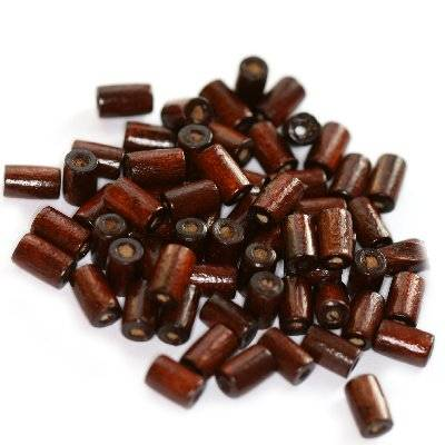 tubes wooden beads dark brown 8 x 4 mm