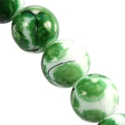 glass beads painted threads emerald 12 mm