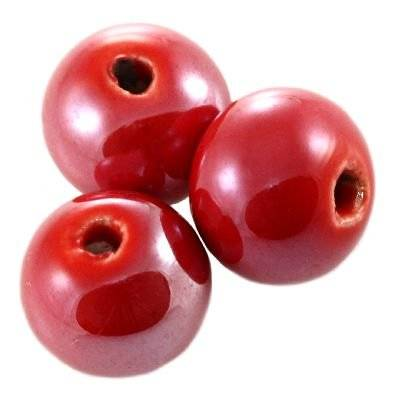 round shining porcelain red 14 mm