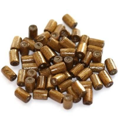 tubes wooden beads light brown 8 x 4 mm