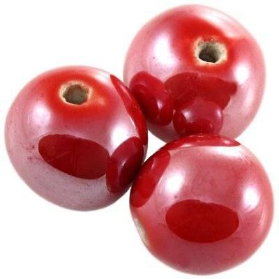 kule porcelanowe błyszczące czerwone 16 mm