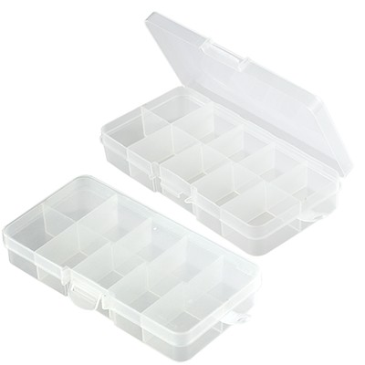plastic box with dividers 6.5 x 13 x 2.1