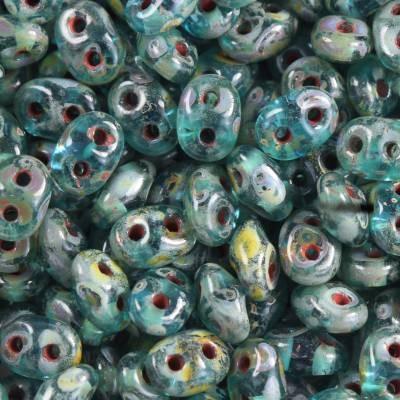 Perles SuperDuo 2,5 x 5 mm aquamarine travertin dark / Tchèque Perles 2 trous