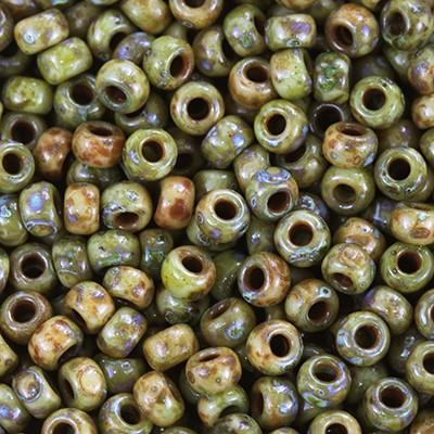Miyuki round beads opaque picasso brown 8/0