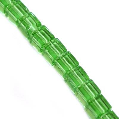 glass beads cube green 4 x 4 mm