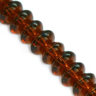 glass beads rondell brown 8 mm