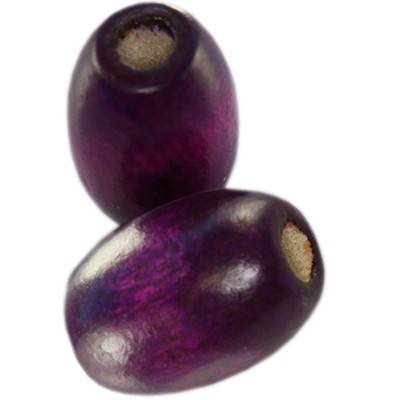 ovals wooden beads amethystine 12 x 8 mm