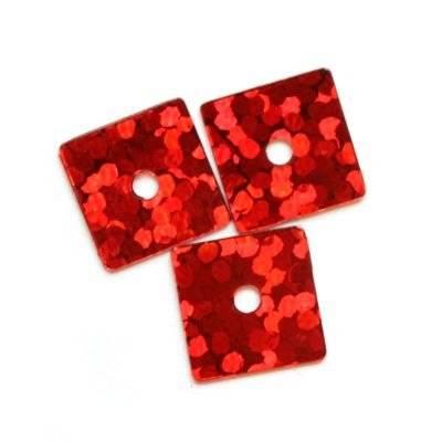 laser paljetter kvadrater röda 7 x 7 mm