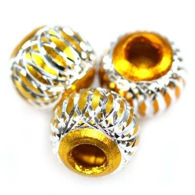 round aluminium beads gold 10 mm