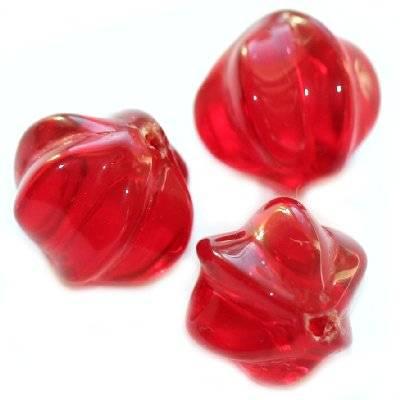 okrągłe gwiazdki czerwone 11 mm / koraliki szklane