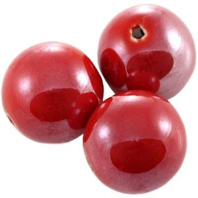 round shining porcelain red 20 mm