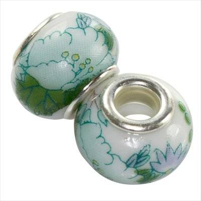 modular beads ceramic green flower 10 x 13 mm