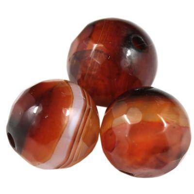round faceted agate dark orange 10 mm