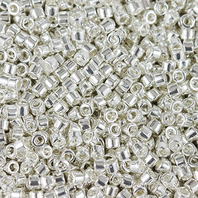 Perles Miyuki Delica bright sterling plated 1.6 x 1.3 mm DB-551