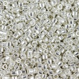 Miyuki Delica Beads bright sterling plated 1.6 x 1.3 mm DB-551