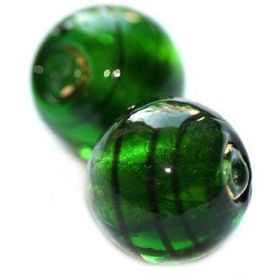 lampwork beads deep green 12 mm
