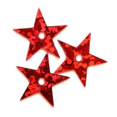 sequins laser stars red 13 mm