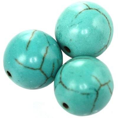 turquoise beads 14 mm / semi-precious stone synthetic