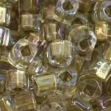 Toho beads cube inside-color crystal/gold lined 3 mm TC-03-262